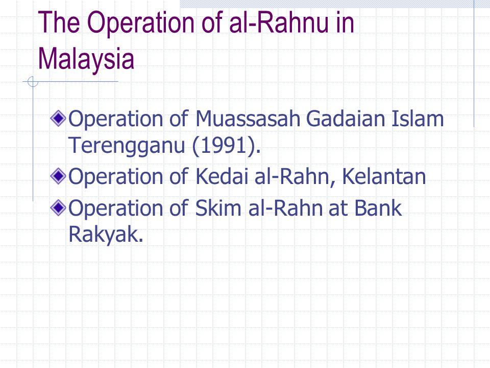The Operation of al-Rahnu in Malaysia