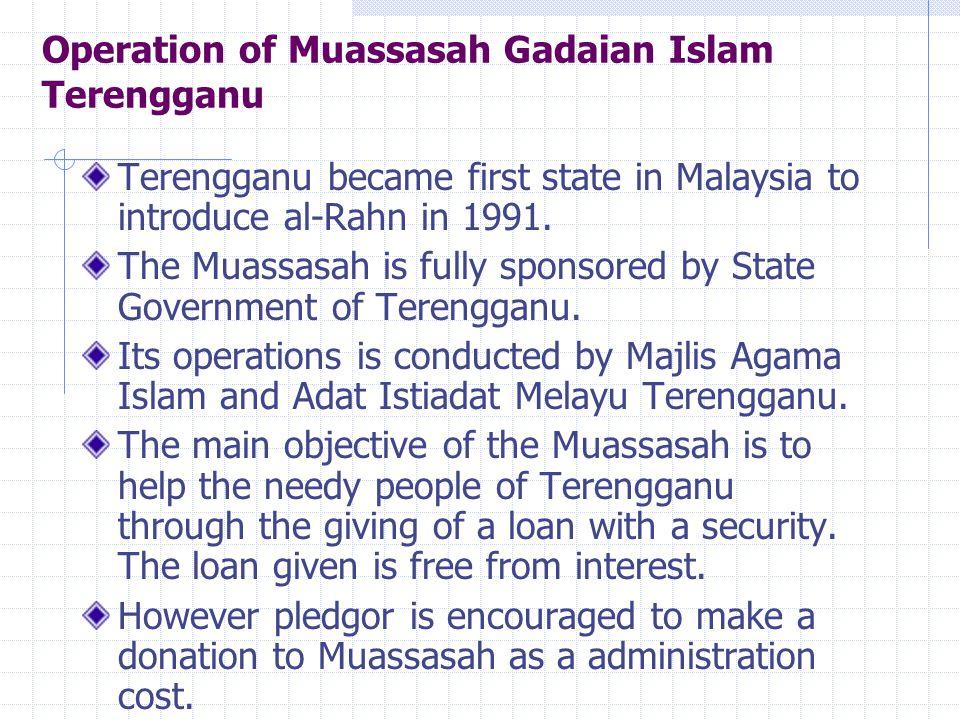 Operation of Muassasah Gadaian Islam Terengganu