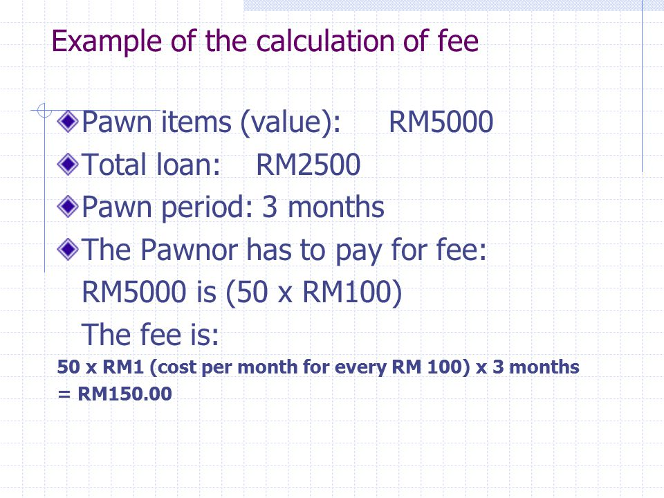Example of the calculation of fee