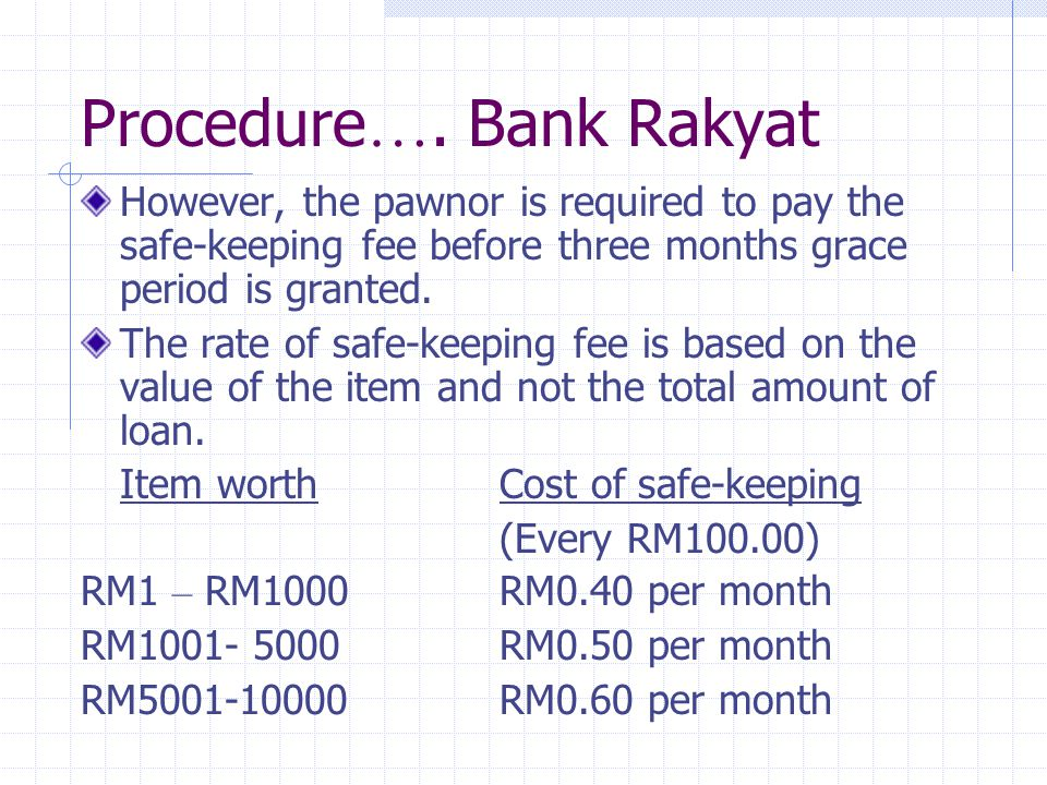 Procedure…. Bank Rakyat