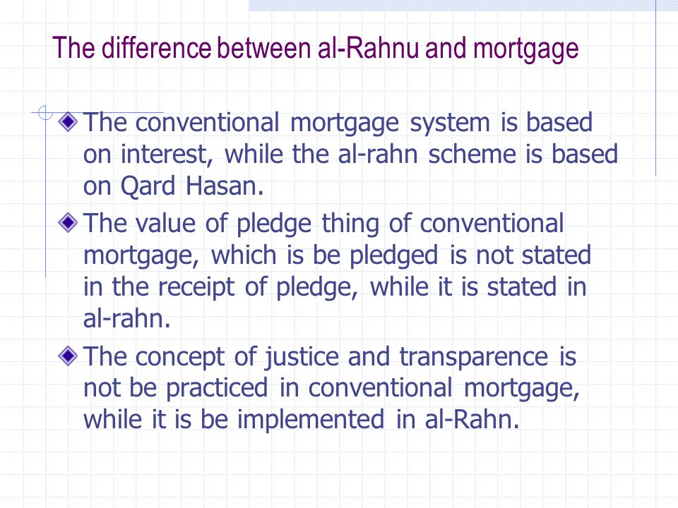 The difference between al-Rahnu and mortgage