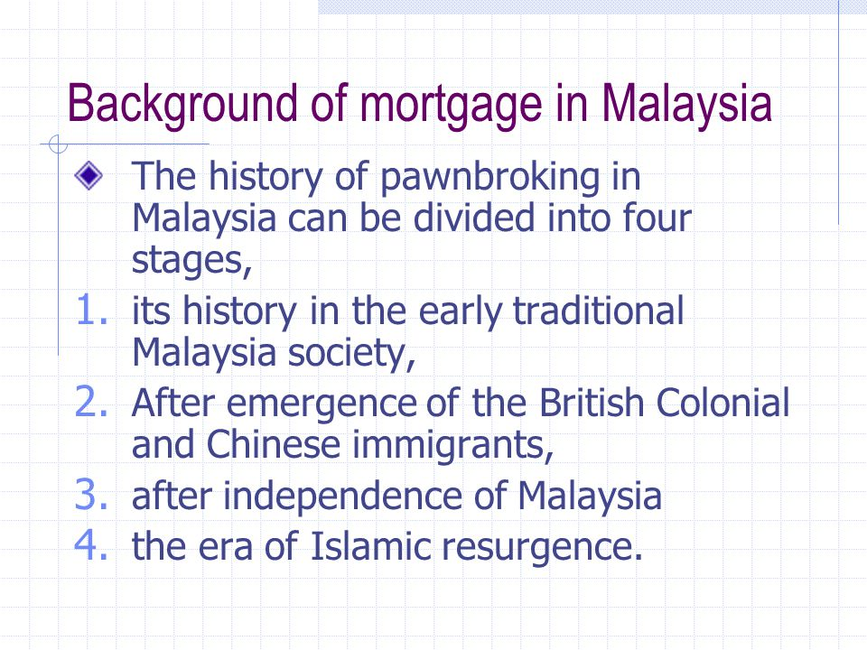 Background of mortgage in Malaysia