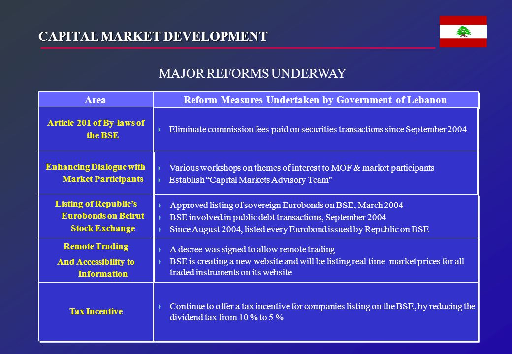 CAPITAL MARKET DEVELOPMENT (cont'd.)