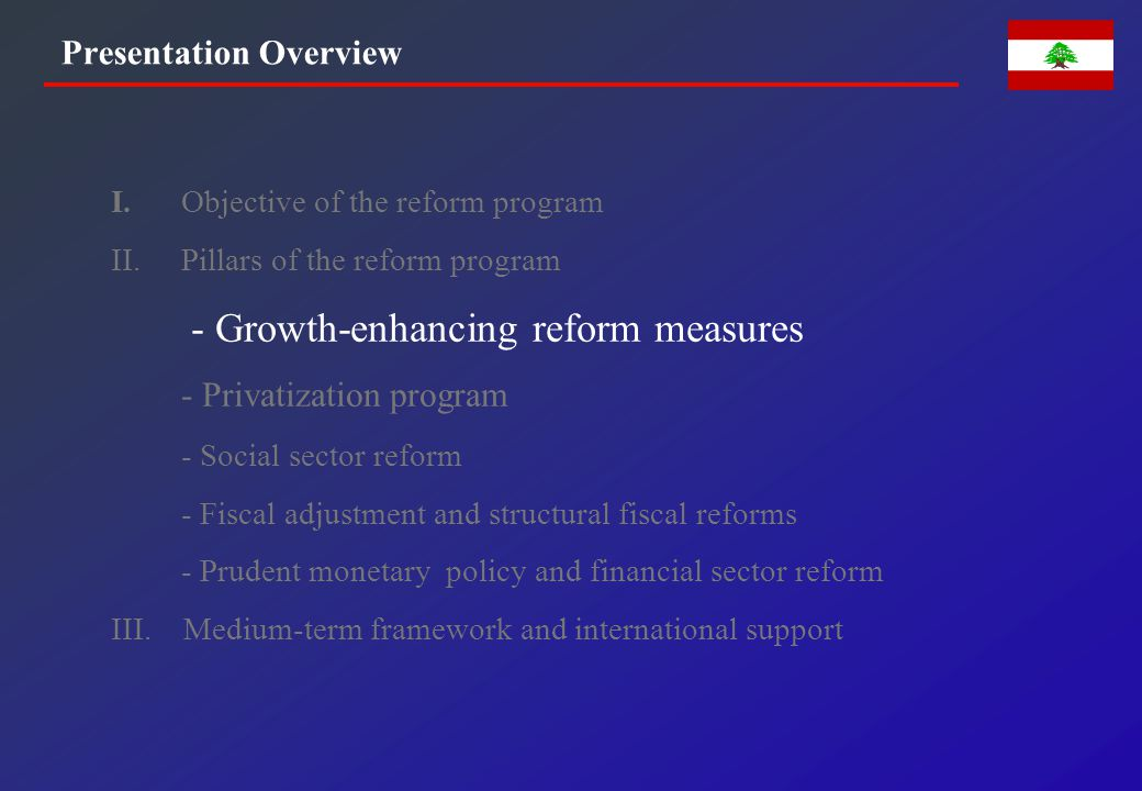 GROWTH-ENHANCING REFORM AGENDA