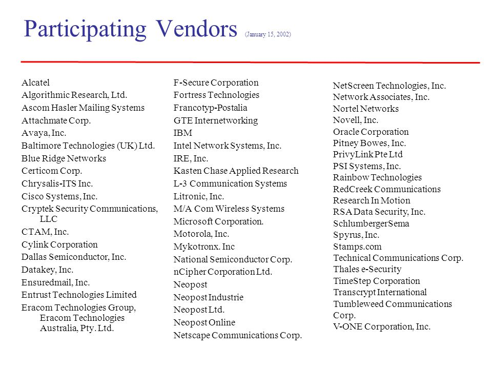 Participating Vendors (January 15, 2002)