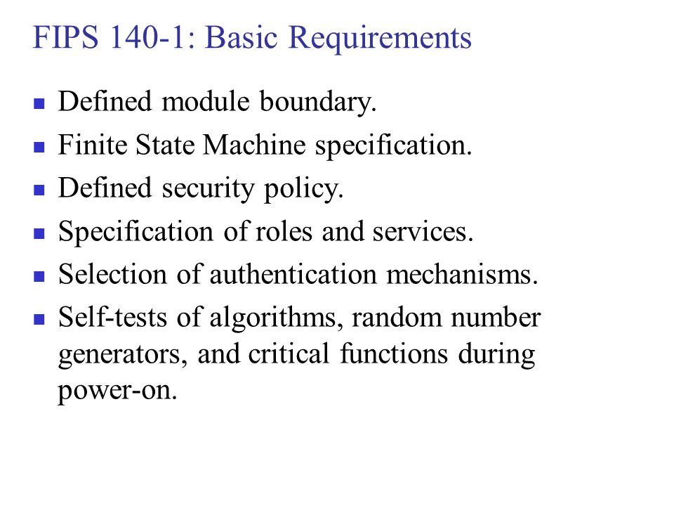 FIPS 140-1: Basic Requirements