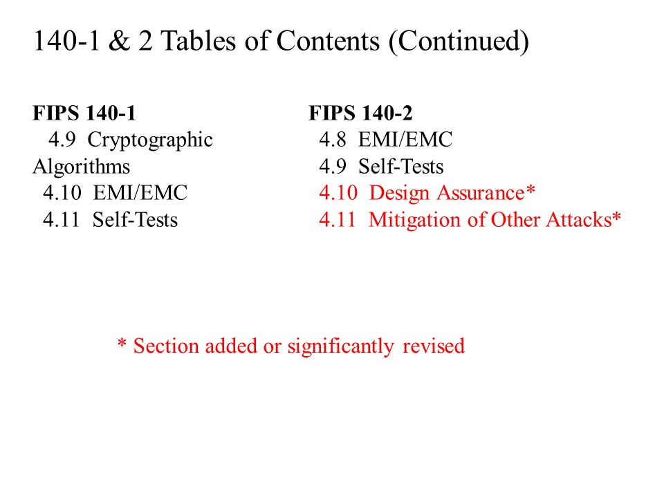 140-1 & 2 Tables of Contents (Continued)