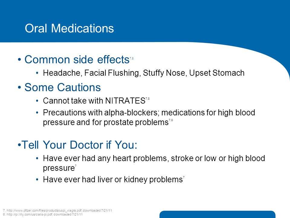 Oral Medications Common side effects7,8 Some Cautions