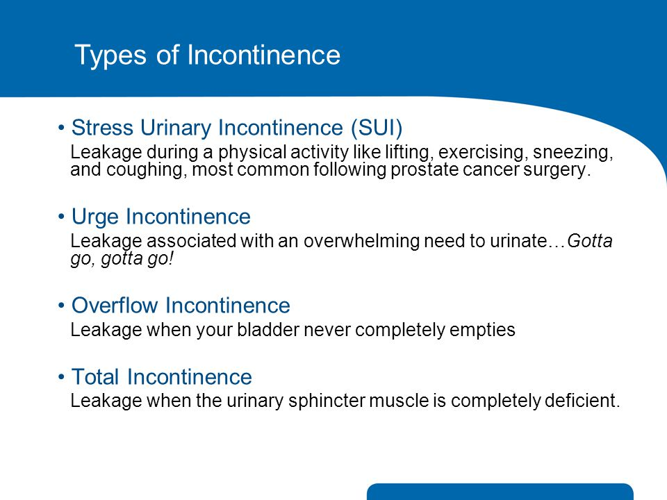 Types of Incontinence Stress Urinary Incontinence (SUI)