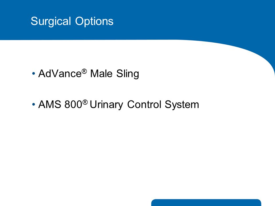 Surgical Options AdVance® Male Sling AMS 800® Urinary Control System