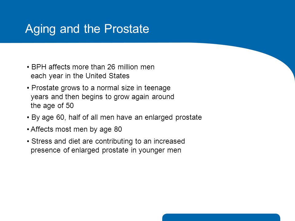 Aging and the Prostate BPH affects more than 26 million men each year in the United States.
