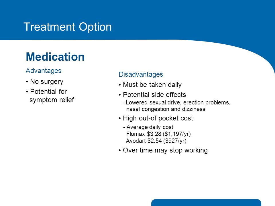 Treatment Option Medication Advantages No surgery