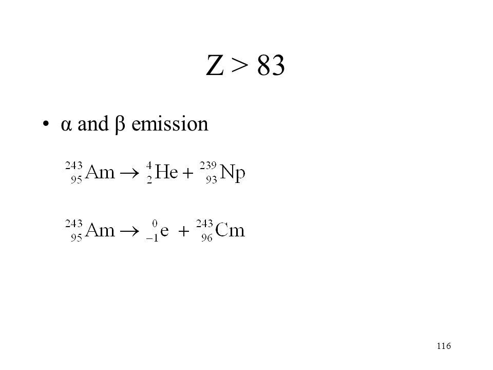 Z > 83 α and β emission