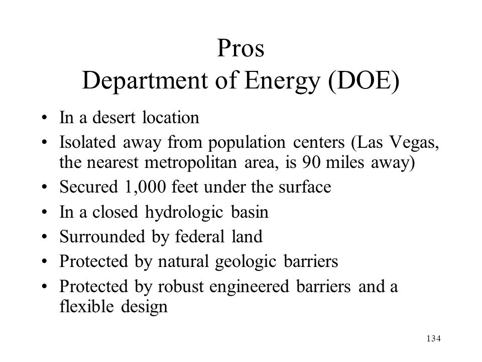 Pros Department of Energy (DOE)