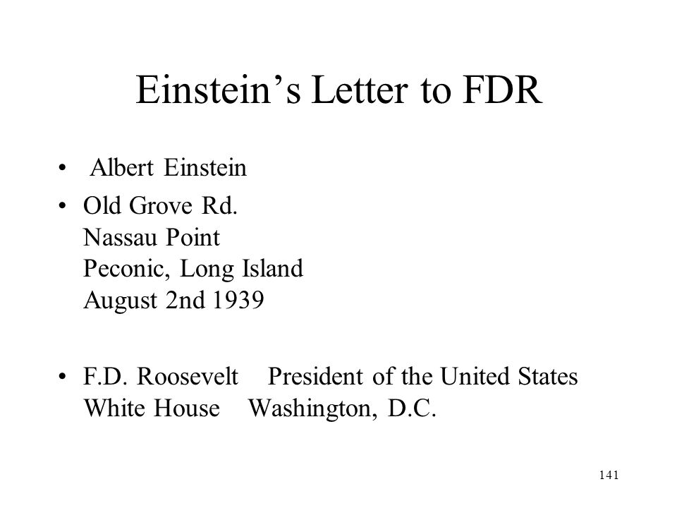 Einstein's Letter to FDR