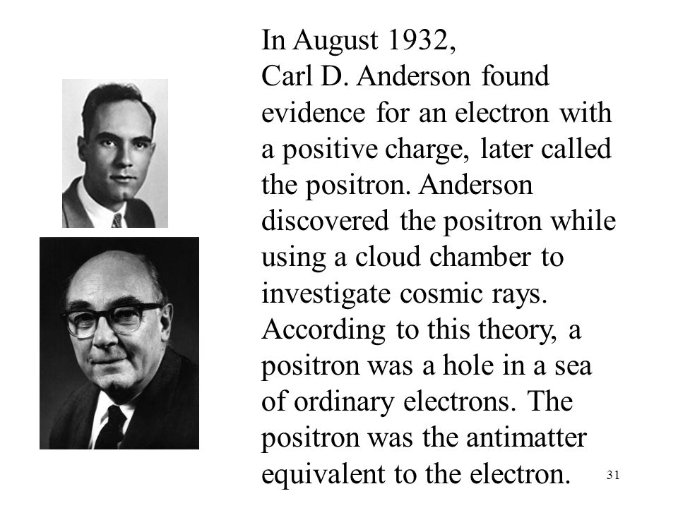 In August 1932, Carl D. Anderson found evidence for an electron with a positive charge, later called the positron.