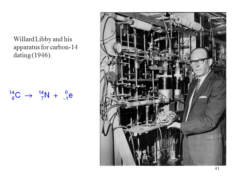 Willard Libby and his apparatus for carbon-14 dating (1946).