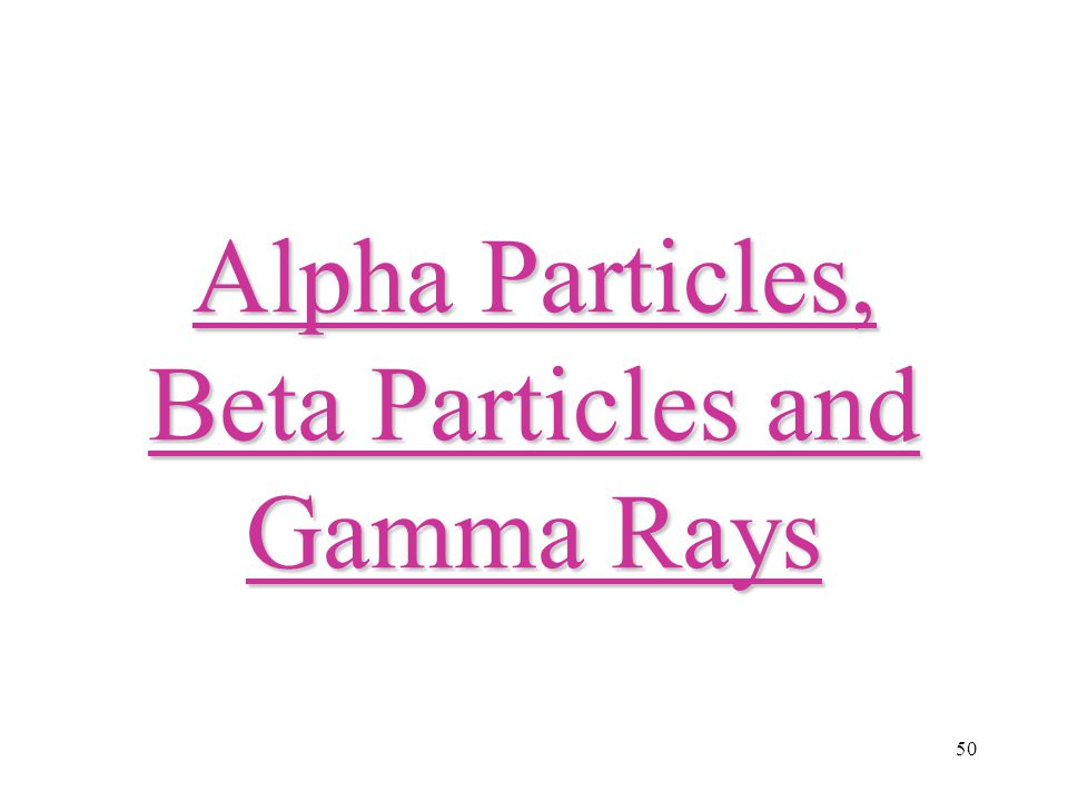 Alpha Particles, Beta Particles and Gamma Rays