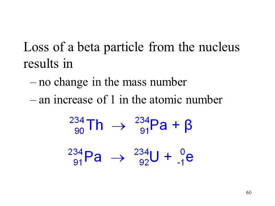 Loss of a beta particle from the nucleus results in