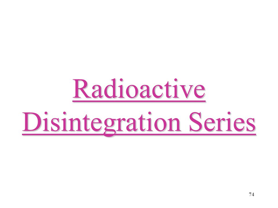Radioactive Disintegration Series