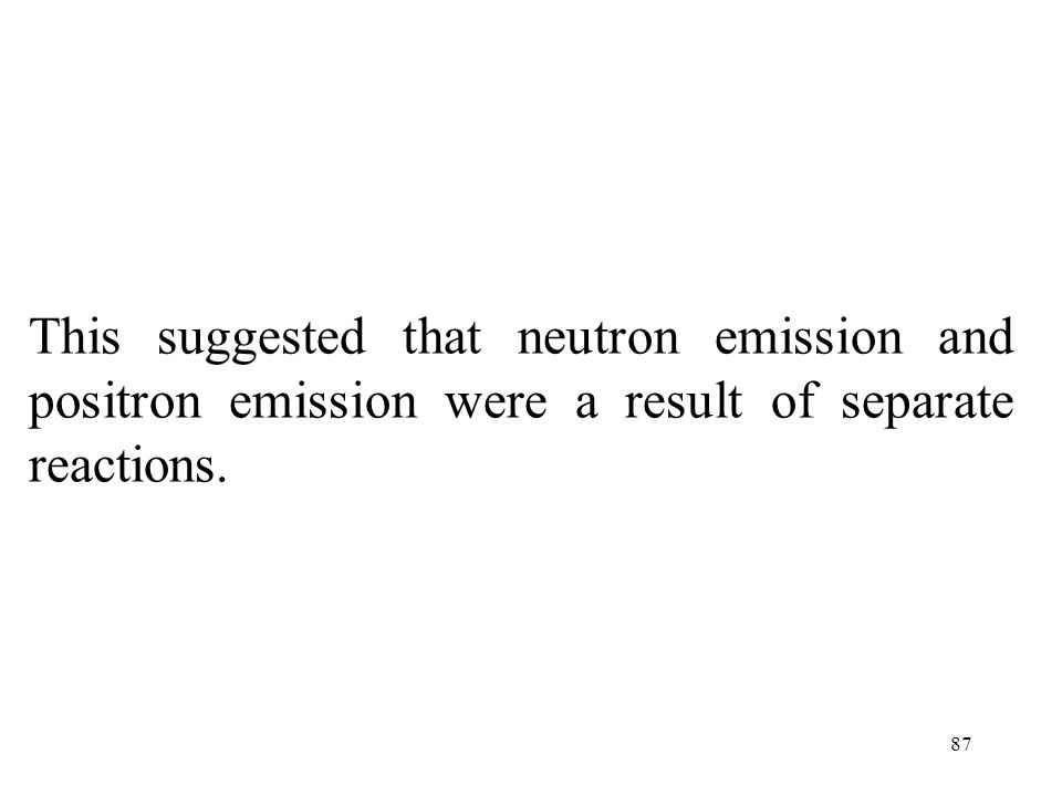 This suggested that neutron emission and positron emission were a result of separate reactions.