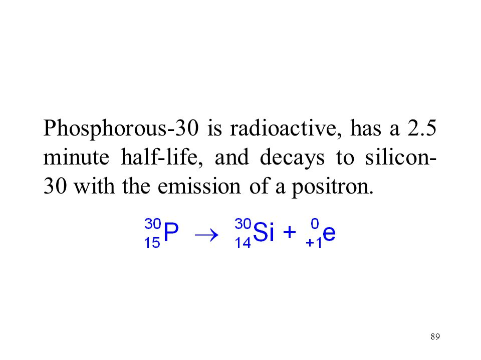Phosphorous-30 is radioactive, has a 2