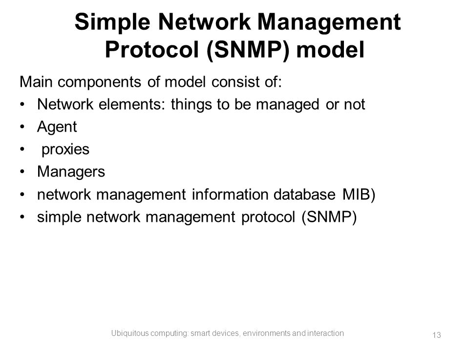 Simple Network Management Protocol (SNMP) model