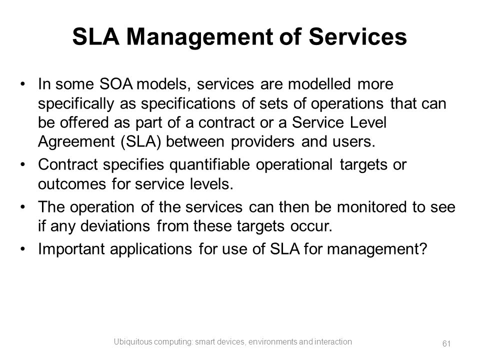 SLA Management of Services