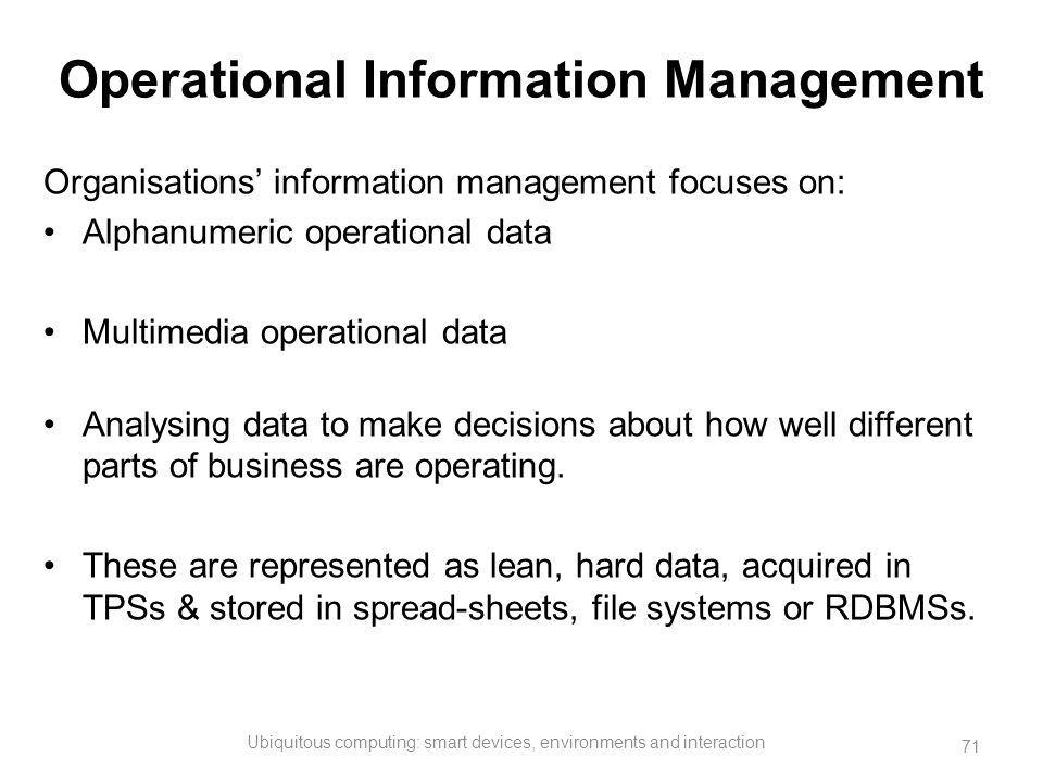 Operational Information Management