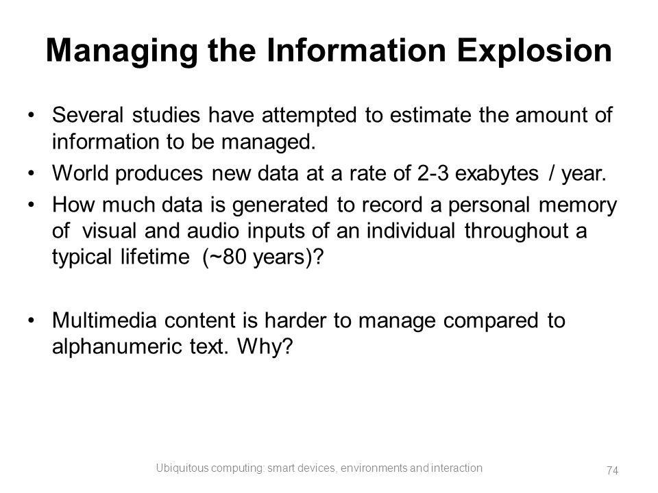 Managing the Information Explosion