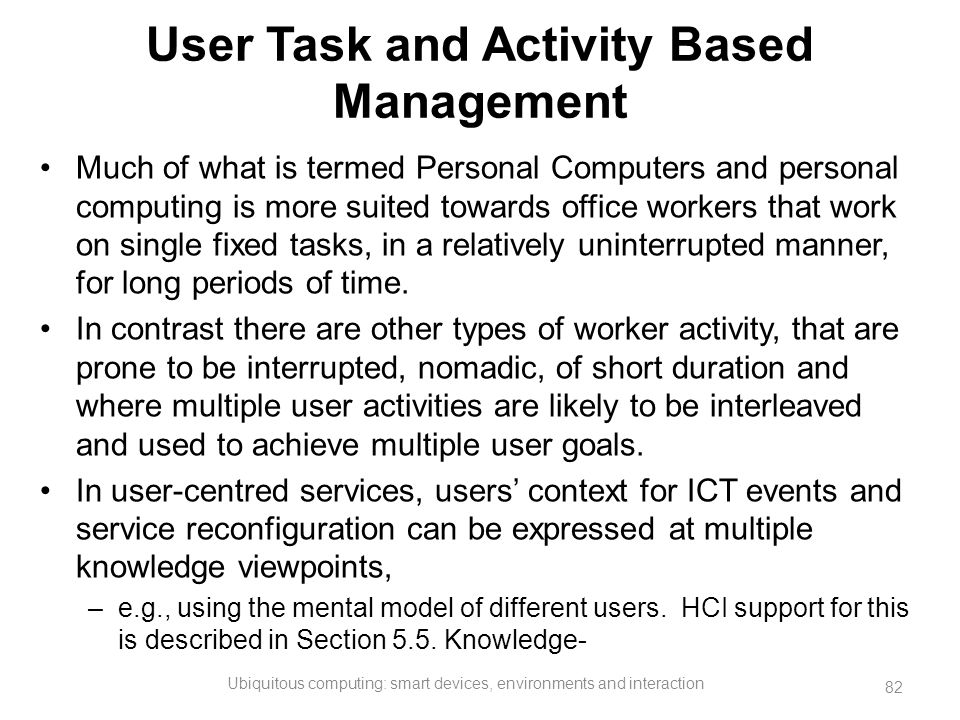 User Task and Activity Based Management