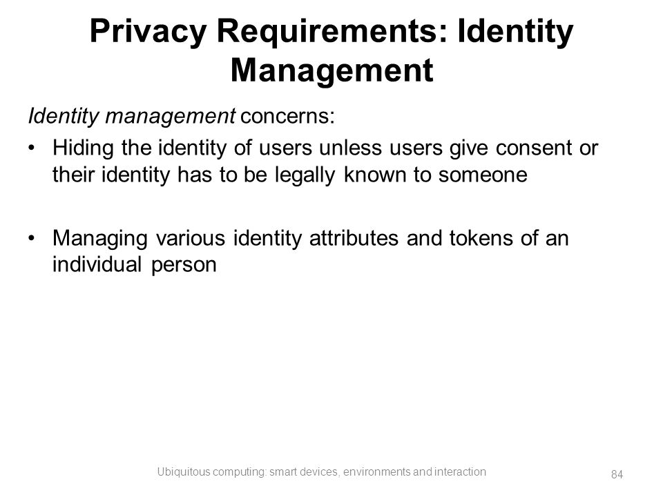 Privacy Requirements: Identity Management