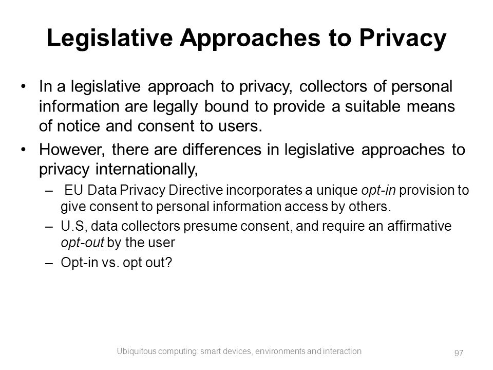 Legislative Approaches to Privacy