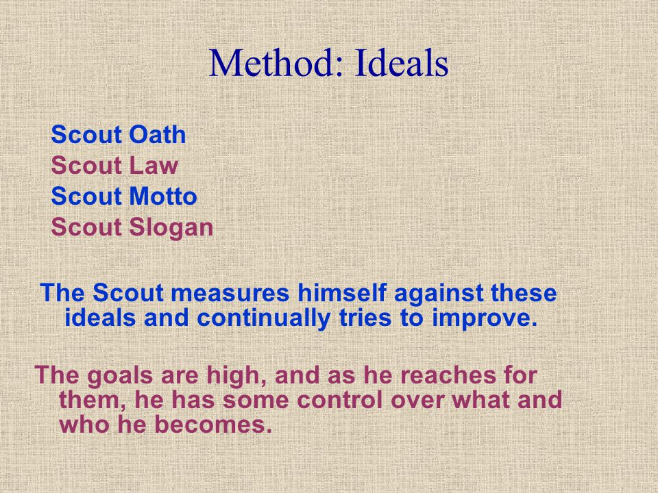 Method: Ideals Scout Oath Scout Law Scout Motto Scout Slogan