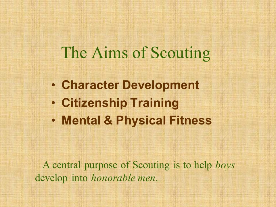 The Aims of Scouting Character Development Citizenship Training