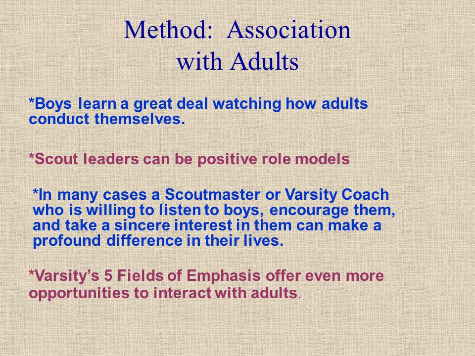 Method: Association with Adults