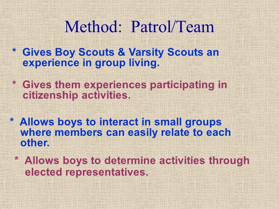 Method: Patrol/Team * Gives Boy Scouts & Varsity Scouts an experience in group living.
