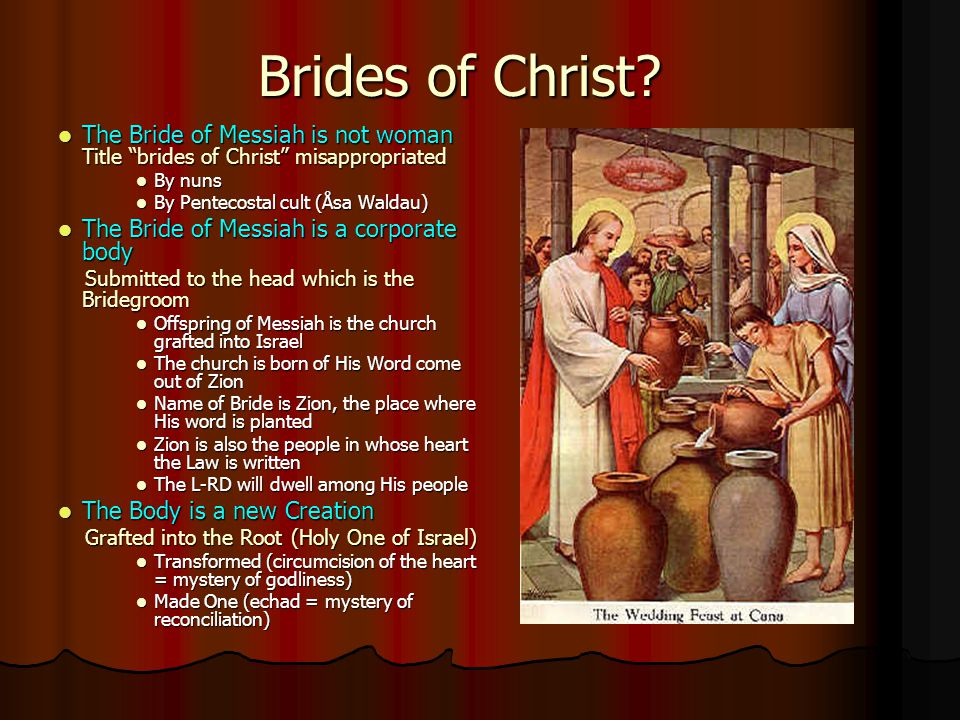 Brides of Christ The Bride of Messiah is not woman Title brides of Christ misappropriated. By nuns.