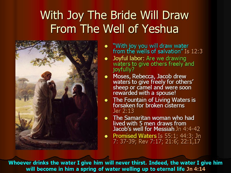 With Joy The Bride Will Draw From The Well of Yeshua
