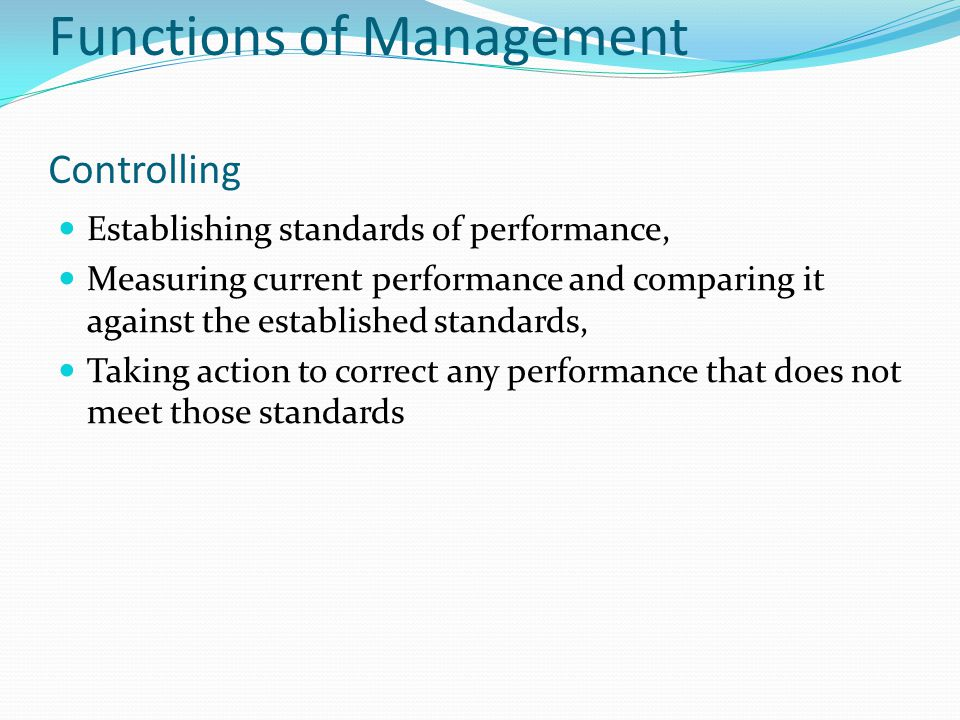 Functions of Management Controlling