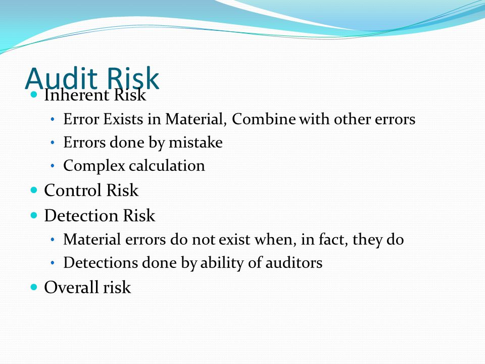 Audit Risk Inherent Risk Control Risk Detection Risk Overall risk