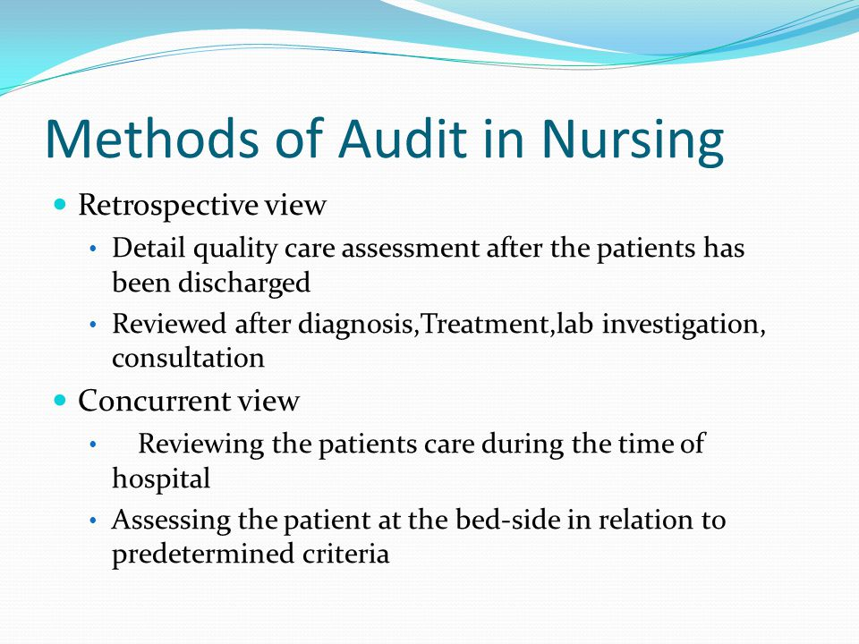 Methods of Audit in Nursing