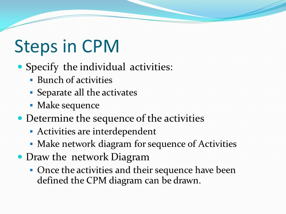 Steps in CPM Specify the individual activities: