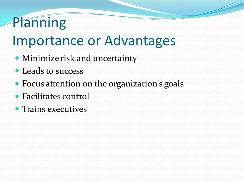 Planning Importance or Advantages