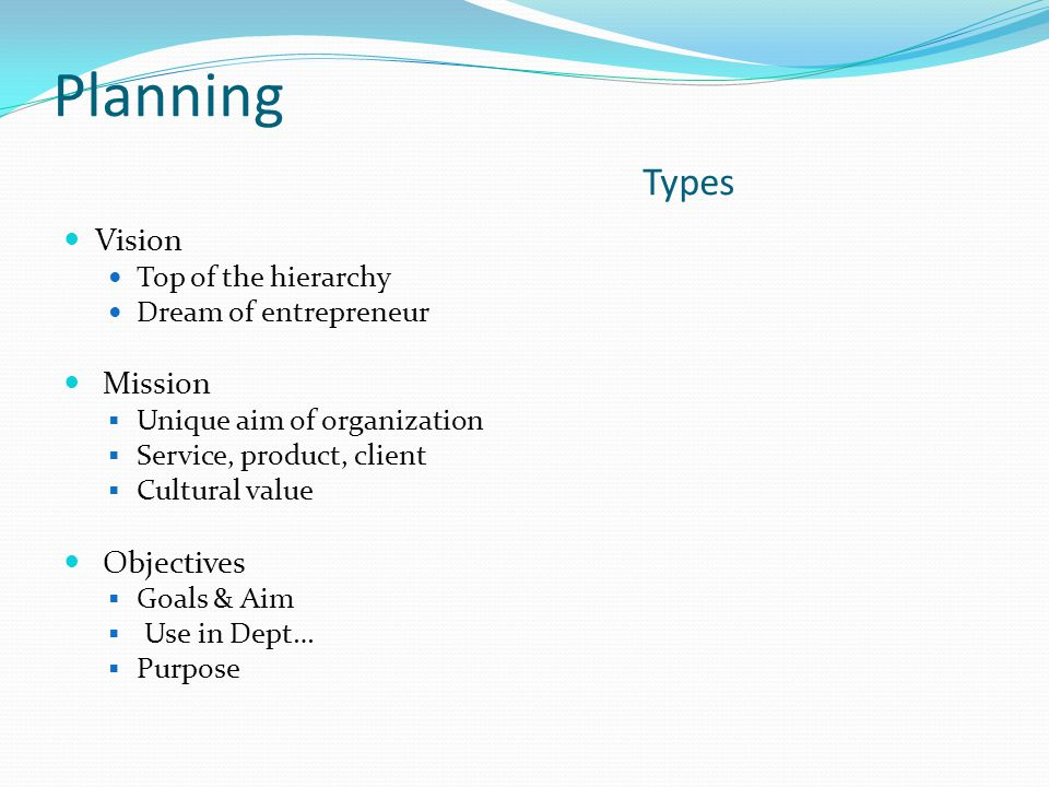 Planning Types Vision Mission Objectives Top of the hierarchy