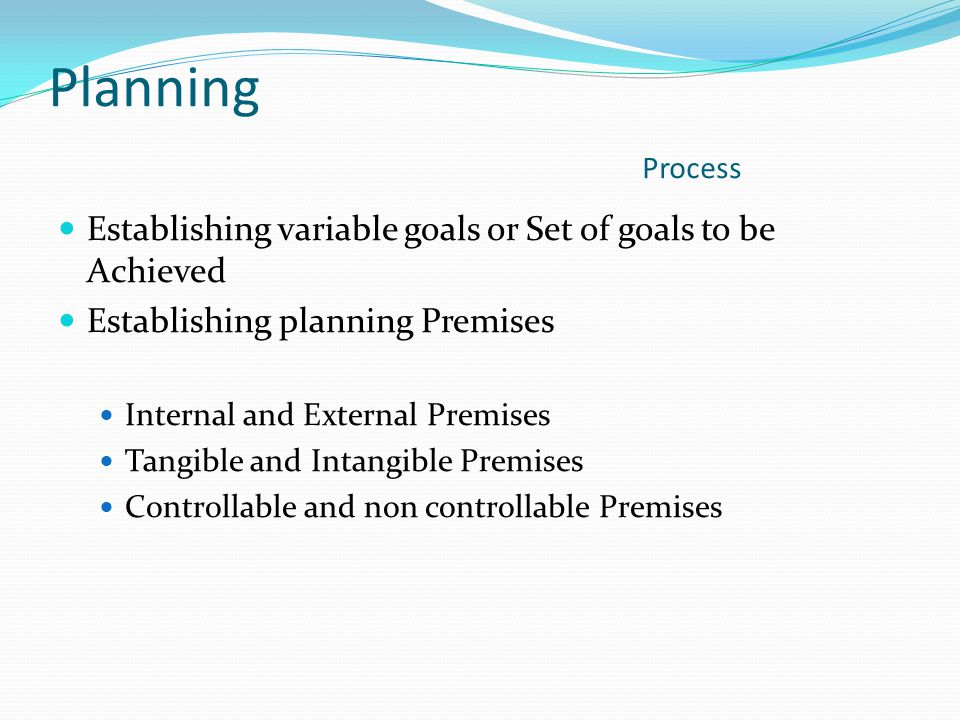 Planning Process Establishing variable goals or Set of goals to be Achieved.