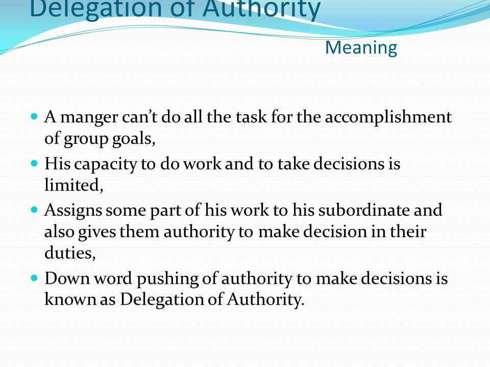 Delegation of Authority Meaning