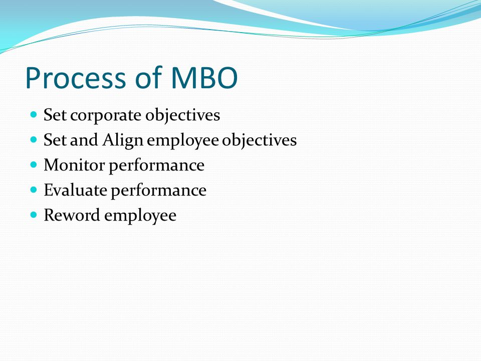 Process of MBO Set corporate objectives