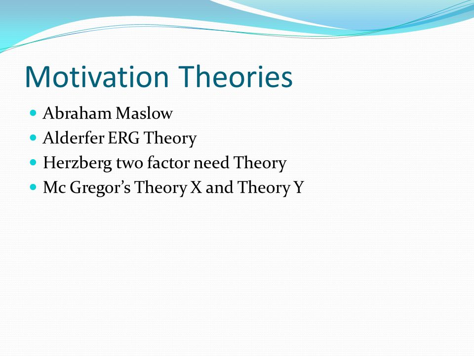 Motivation Theories Abraham Maslow Alderfer ERG Theory