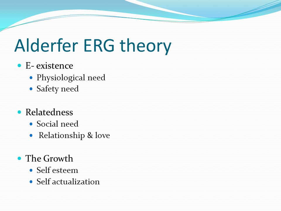 Alderfer ERG theory E- existence Relatedness The Growth